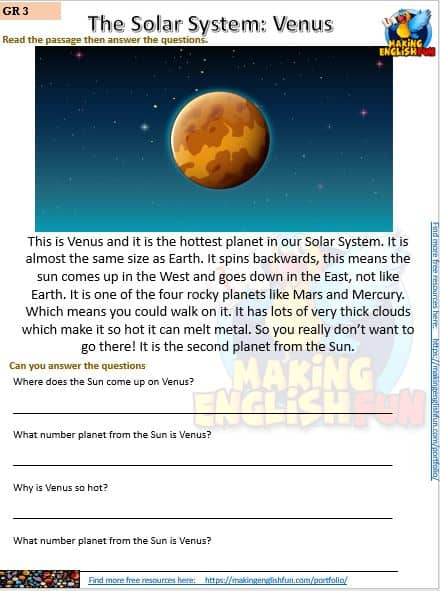 FREE Reading and writing Space worksheets Venus
