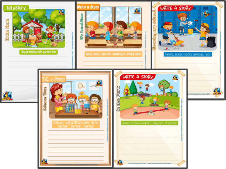 Writing and Picture Description Worksheets for Kindi,  Primary and ESL Students SET 2