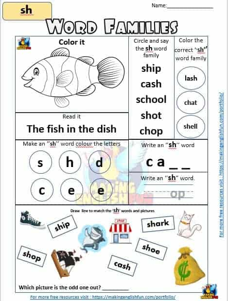 FREE Digraph sh word families Worksheet