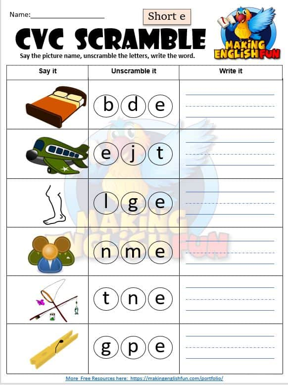 FREE CVC phonics Short e worksheet