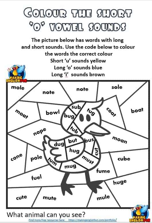 Free Short vowel U Colouring Phonics worksheets