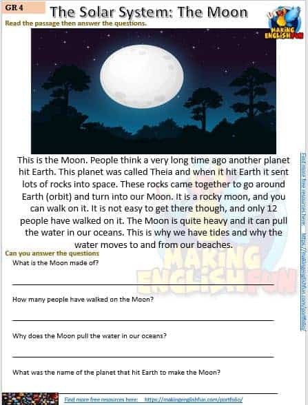FREE Reading and writing Space worksheets the moon