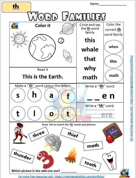th word families phonics Worksheets