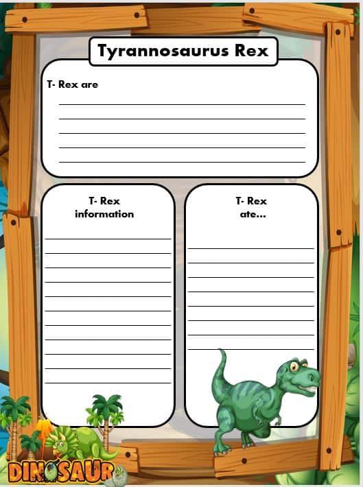 FREE Dinosaur Writing templates TREX