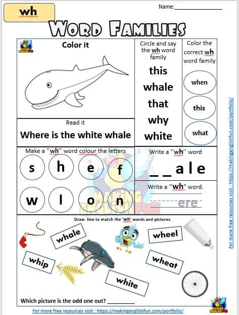 wh word families phonics Worksheets