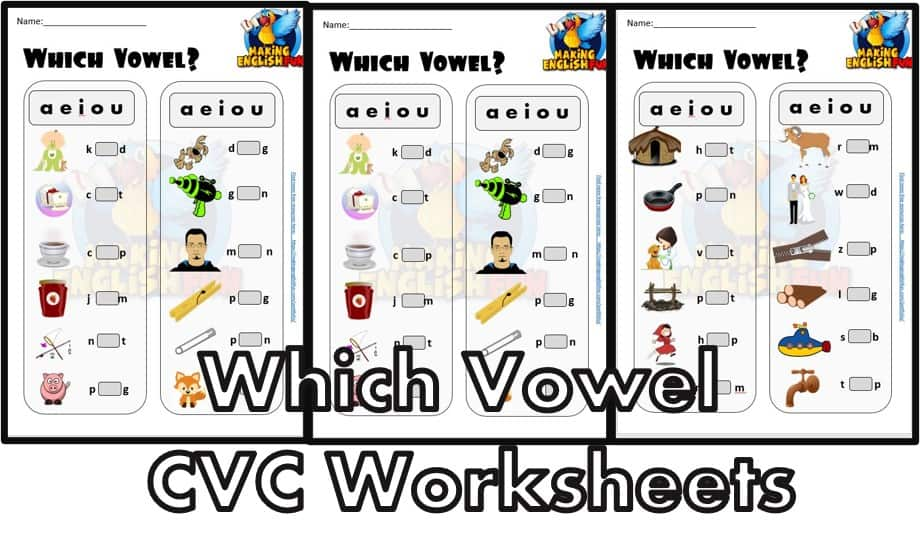 Which Vowel CVC Phonics Worksheets