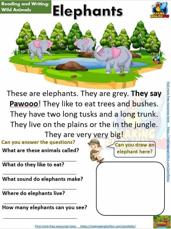 FREE guided Reading Readers and worksheets Elephants
