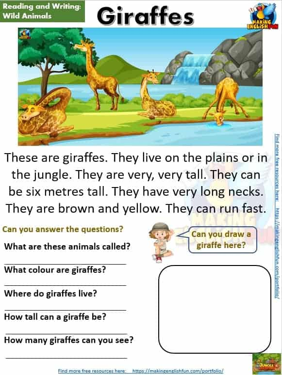 FREE guided Reading Readers and worksheets Giraffes