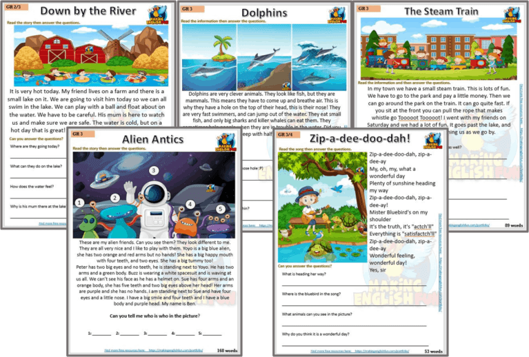 Reading and Writing Comprehension Cards – Grade 3 set 2