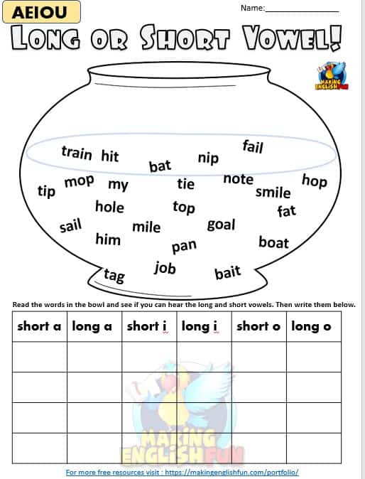 Long and Short vowel worksheets