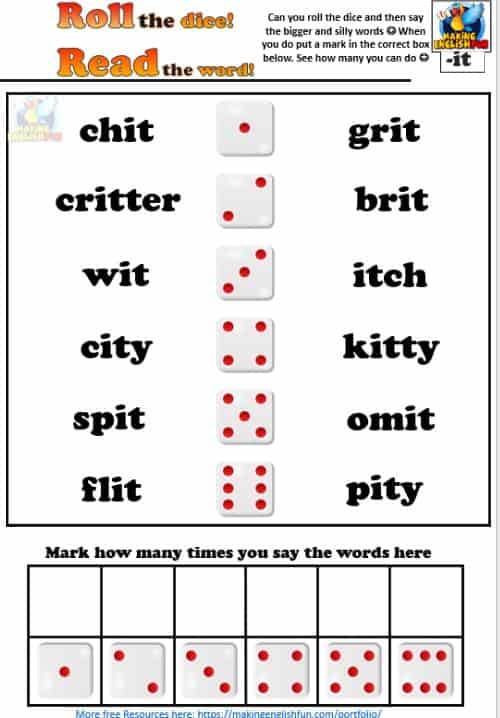 Short Vowel i Phonics Roll the dice activity