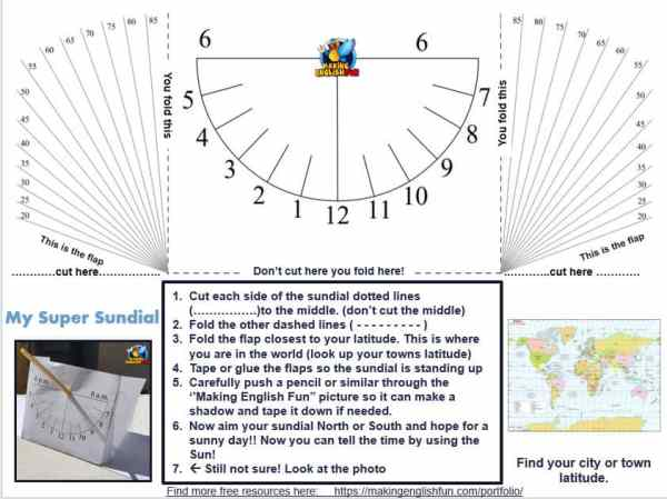 Printable Sundial Template for STEM lessons