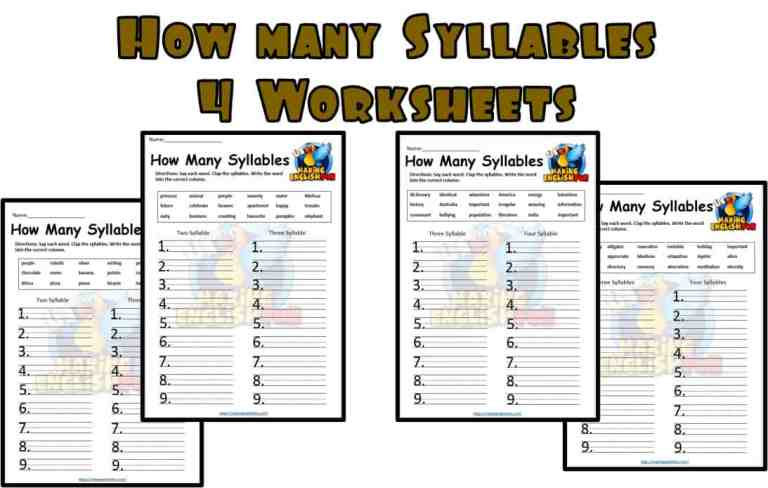 Syllables Worksheets – Multi Level.