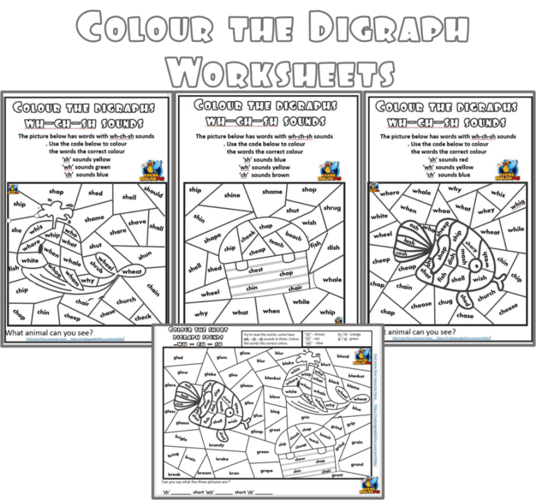 Colour by Digraphs Worksheets