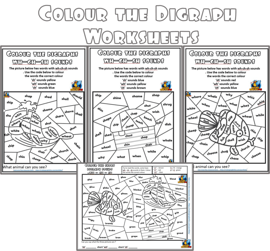 Colour the digraph and blends Phonics worksheets.