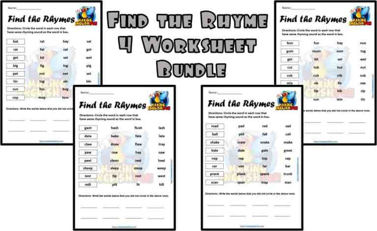 Free Find the Rhyme- 4 LEVELED Worksheets