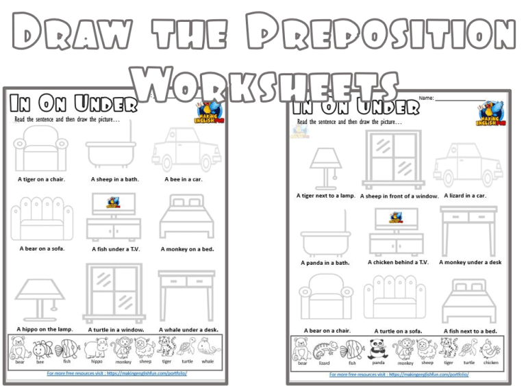 Draw the Preposition Worksheets