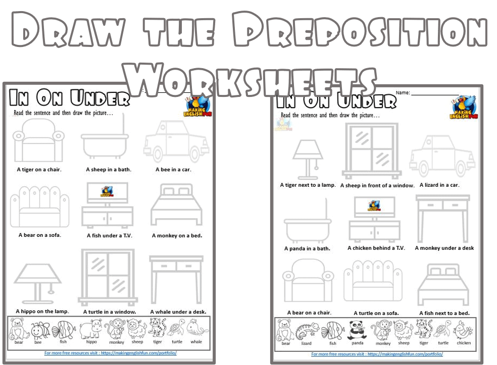 Draw the prepositions worksheet for ESL and Kindergarten