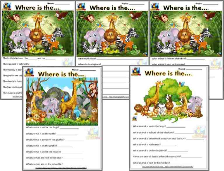 Prepositions of place Worksheets – 5 JUngle versions