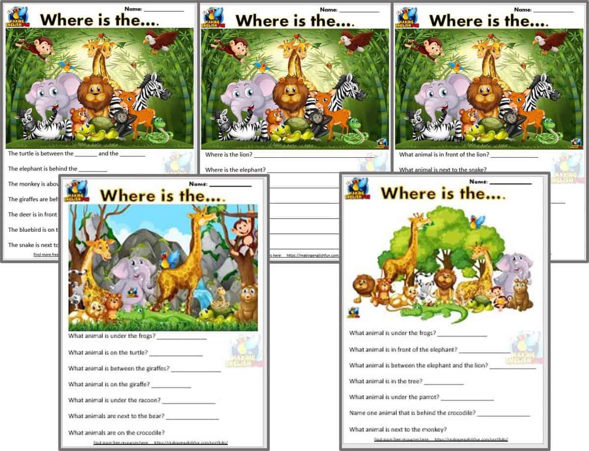Five Free ESL and kindergarten prepositions Worksheets