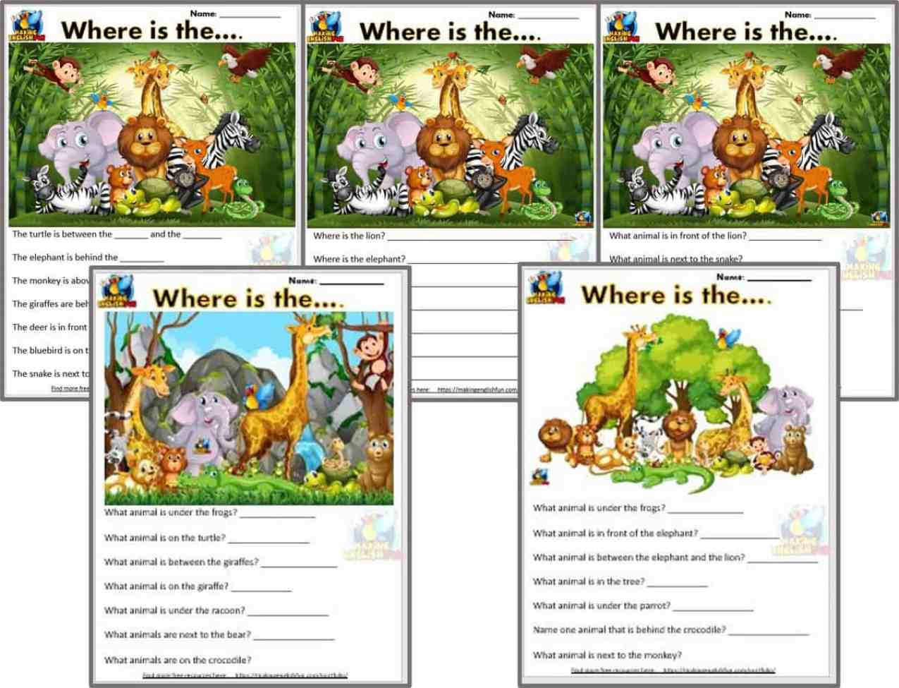 Five Free ESL and kindergarten prepositions Worksheets