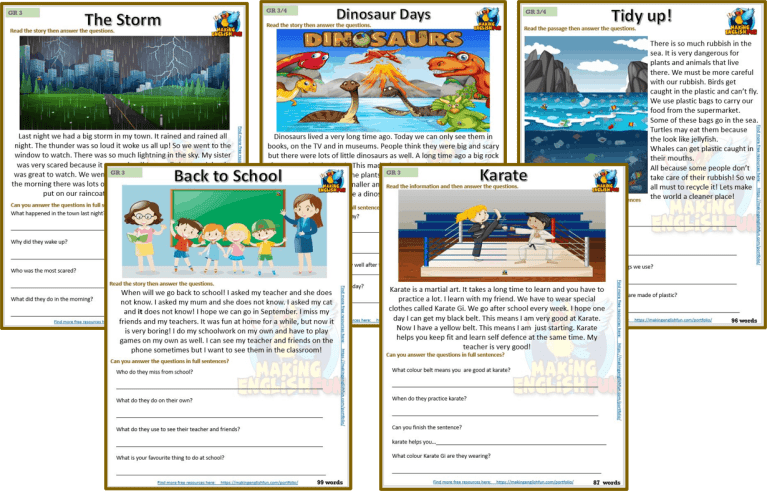 Reading and Writing Comprehension Cards – Grade 3 set 4