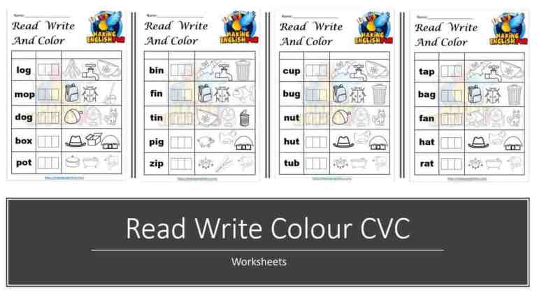 Free Read Write Colour CVC Phonics Worksheets