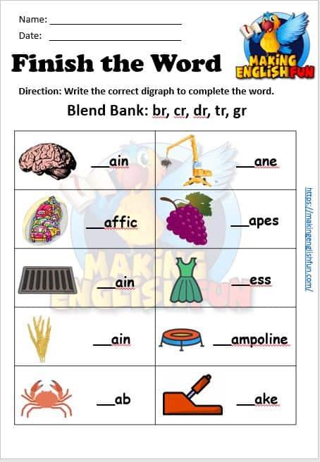 FREE Consonant blend worksheets