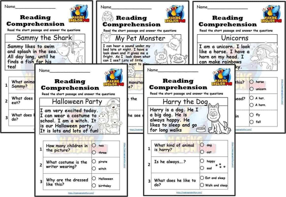 Kindergarten reading Comprehension Cards