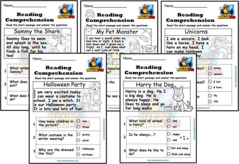 Free Kindergarten Reading Comprehension Cards and Colouring Worksheets