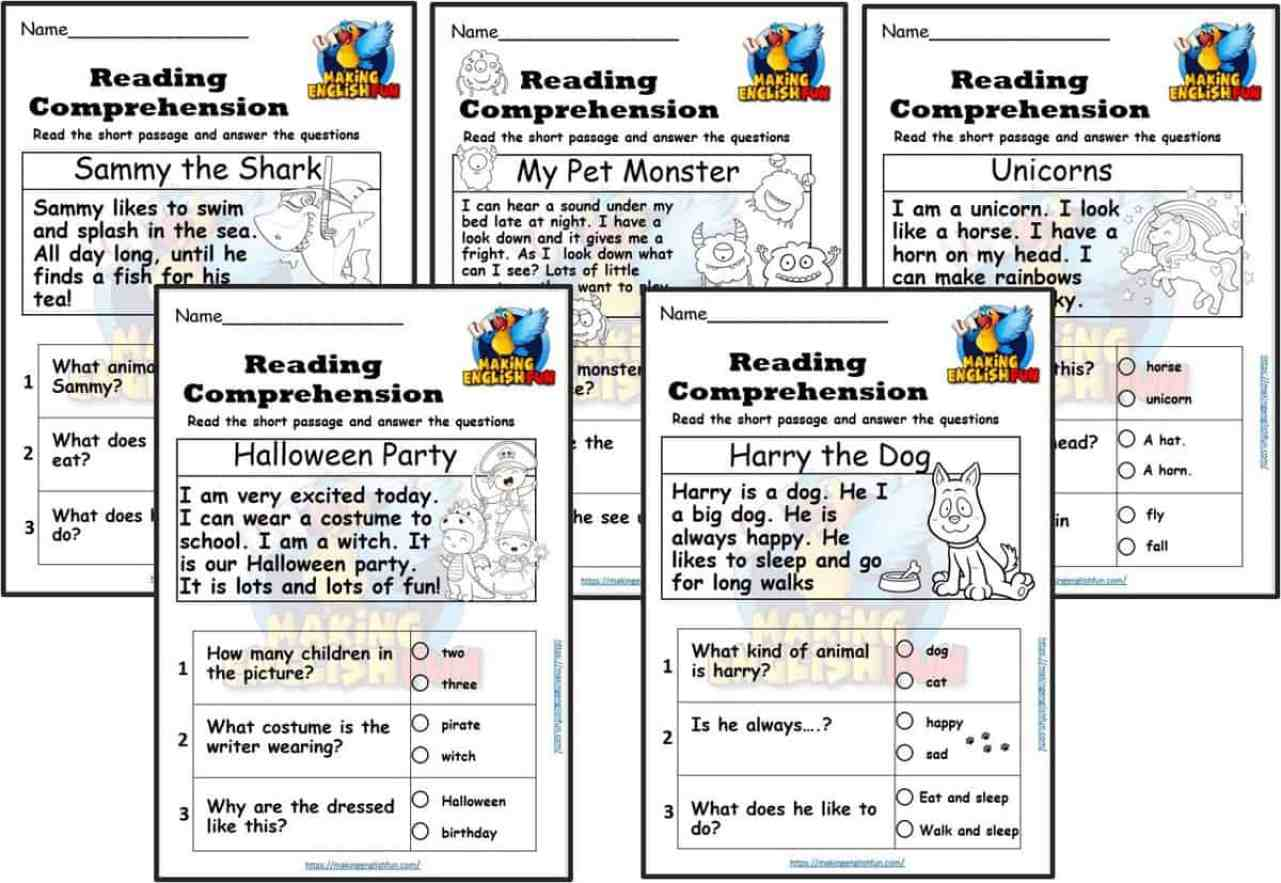 Kindergarten reading Comprehension Cards