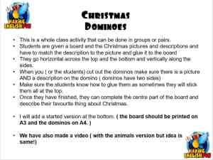 Christmas dominoes activity