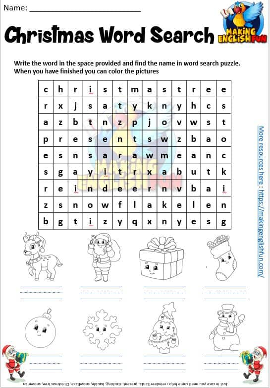 Christmas Coloring Word Search.