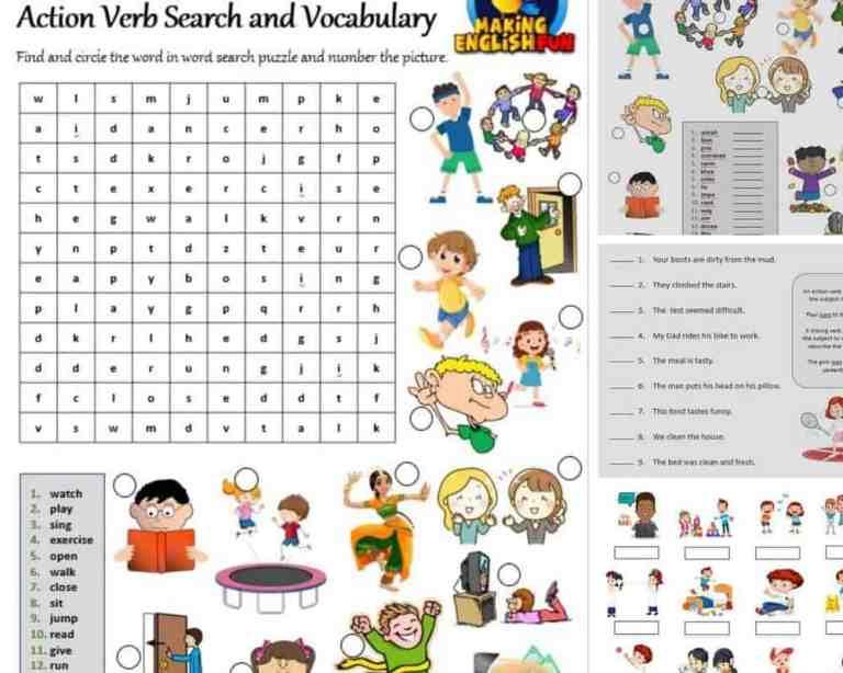 13 Action Verb Worksheets