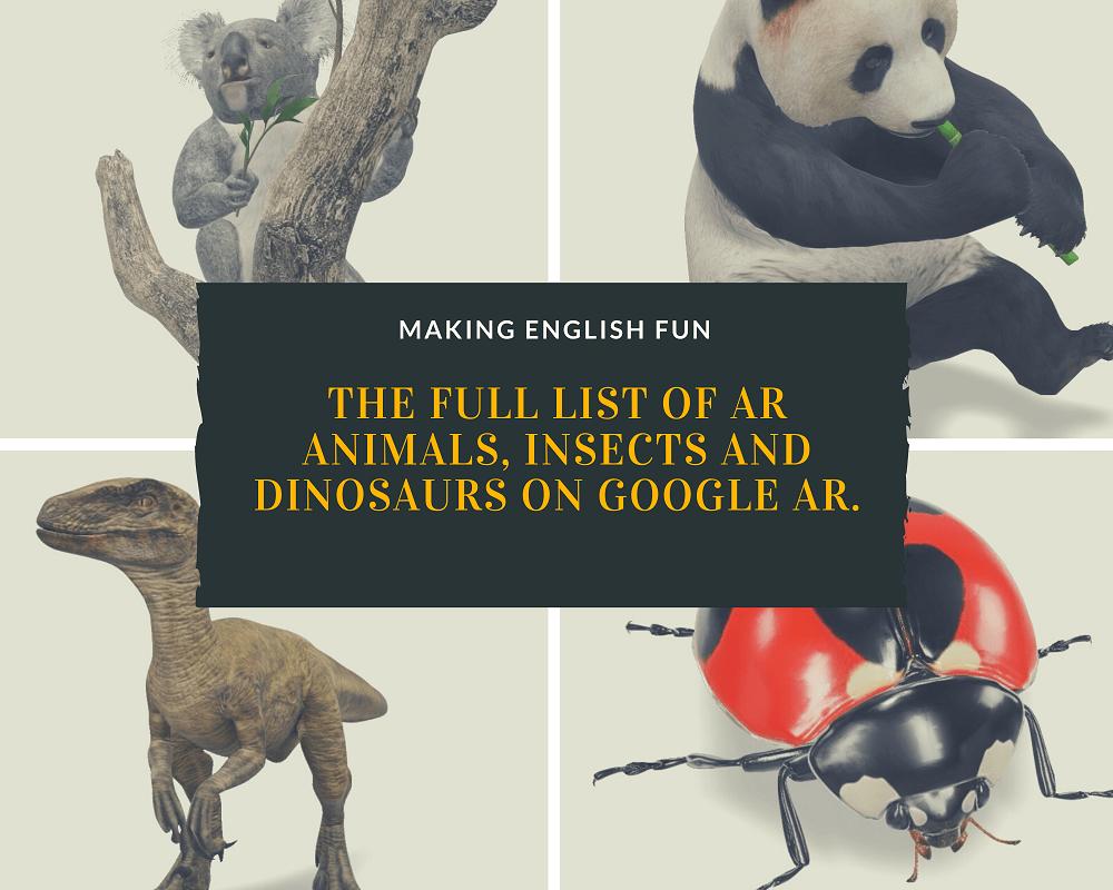 List of AR animals on Google