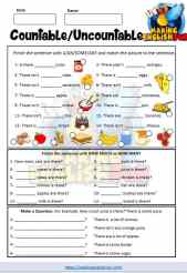 Countable and Uncountable Nouns worksheet 2