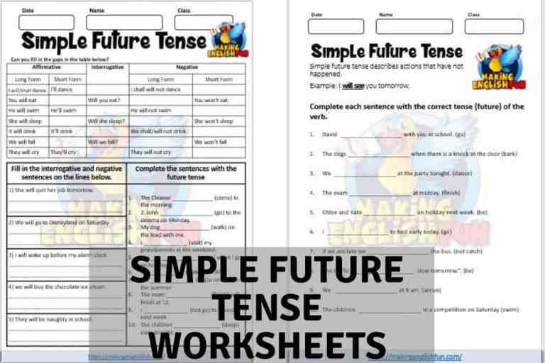 Simple Future Tense Worksheets