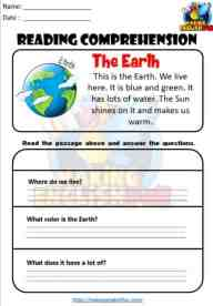 Kindergarten Reading Worksheet 1