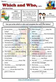Wwhich and Who Worksheet