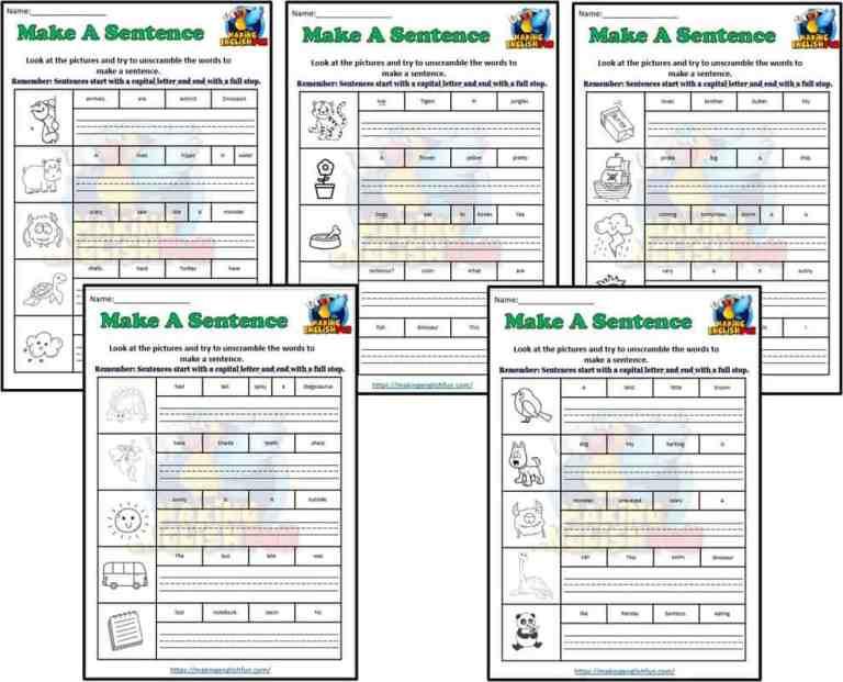 Make A Sentence Worksheets Coloring: Set 2