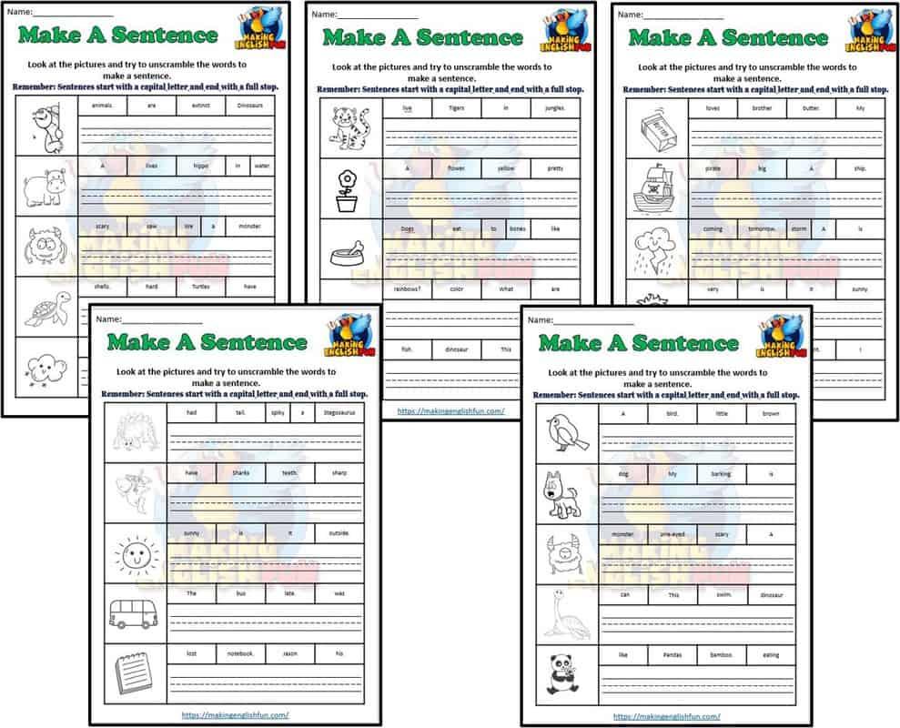 Make a sentence Worksheets set 2
