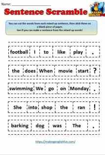 sentence scramble worksheet