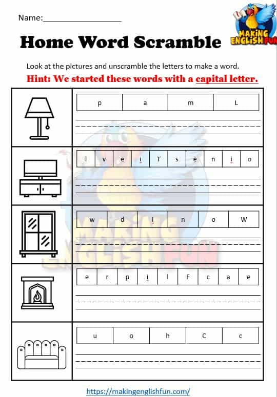 Home Word Scramble Worksheets