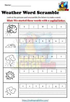 Weather Word Scramble Worksheet