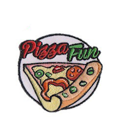 """Pizza Patch (circle). The """"Pizza Fun"""" Patch from MakingFriends®.com is a great little keepsake for your pizza tour or pizza party. via @gsleader411"""