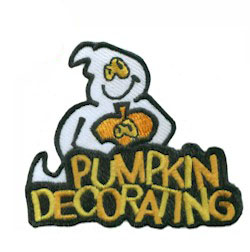 Pumpkin Decorating Patch from MakingFriends®.com,  Decorate pumpkins with your scouts and give them our fun Halloween ghost patch. via @gsleader411