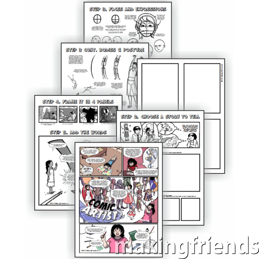 Comic Artist Download. Grab a pencil andprint the Comic Artist Download from MakingFriends®.com. That's all you'll need to complete all five requirements for the fun Cadette Comic Artist badge. Fun for independent Girl Scouts (Juliettes) or to work on at a troop meeting. #makingfriends #scoutingfromhome #cadettegirlscouts via @gsleader411