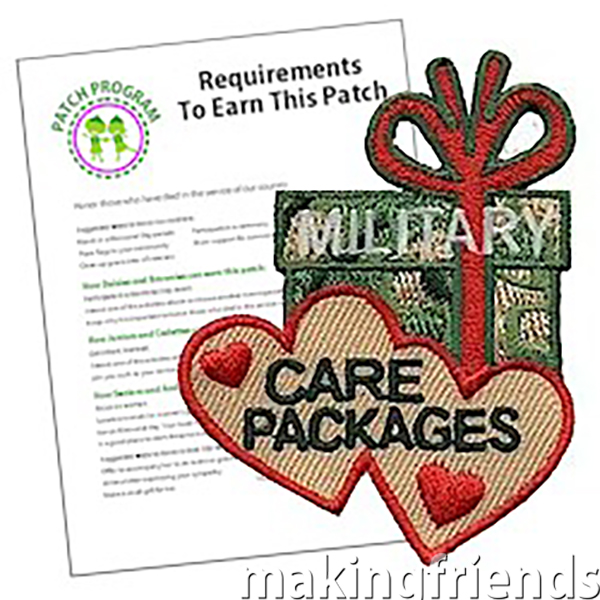 Military Care Packages Patch Program Preparing care packages for the military is a great community service project for girls. Remember the work they put into this project with our patch! #patchprogram #militarycarepackages #Military #carepackages #communityservice #makingfriends via @gsleader411