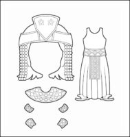 World Thinking Day Traditional Egypt Clothing Outline