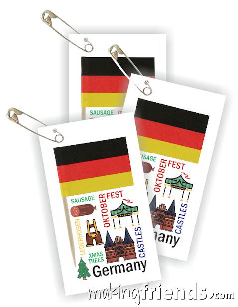 Germany Toothpick Flag Friendship Swap Kit. If your girls chose Germany for their World Thinking Day* or International event this craft for swapping is a great value. It's easy to make, educational and looks expensive. Kit makes 100! More fun ideas for your Germany booth on our page Germany   Ideas for Thinking Day* including patches, costumes, recipes and more. via @gsleader411